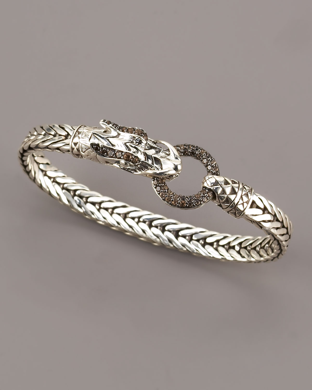 John Hardy Naga Smoky Quartz Dragon Bracelet In Silver