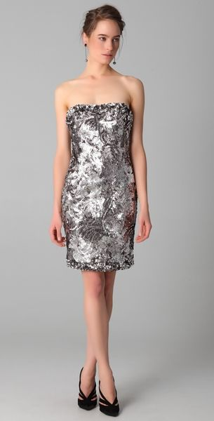 Marchesa Sequined Strapless Dress in Silver (pewter)