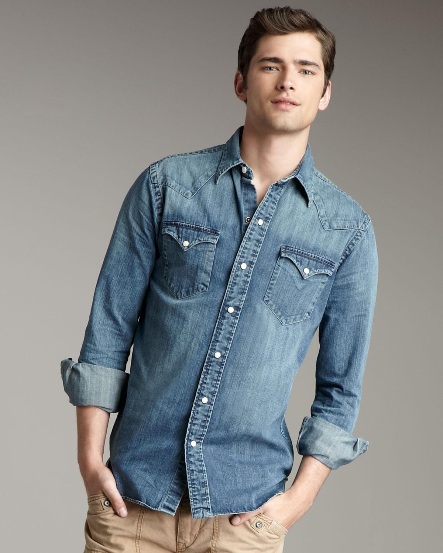 f9eebe461d Lyst - Polo Ralph Lauren Classic Denim Western Shirt in Blue for Men