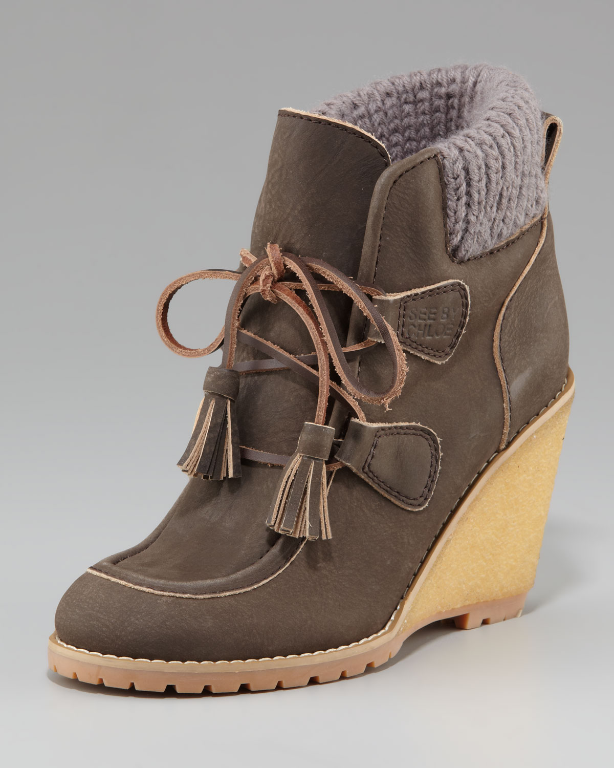 See By Chlo 233 Lace Up Wedge Bootie In Gray Lyst