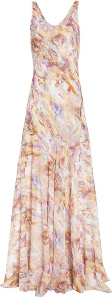 Theyskens' Theory Marble Print Maxi Dress in Pink