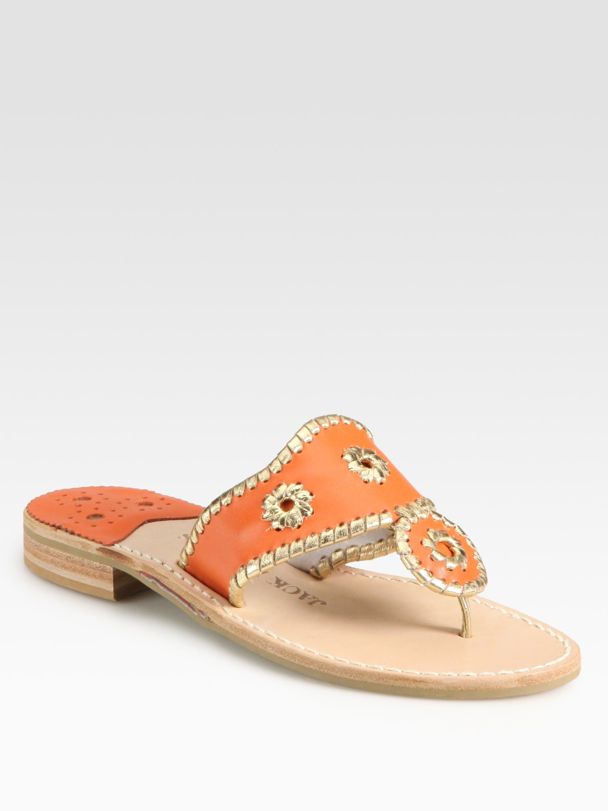 Jack Rogers Rio Leather Thong Sandals In Orange Lyst