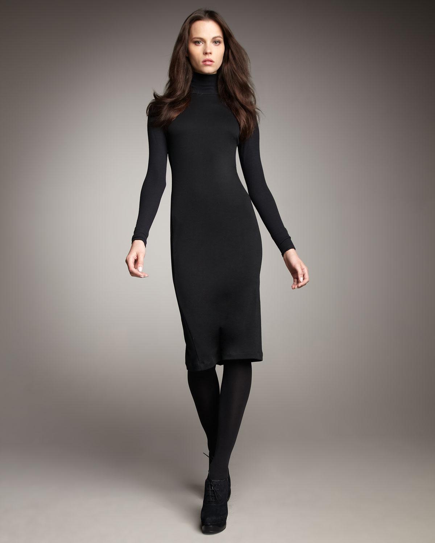 Long Black Turtleneck Dress