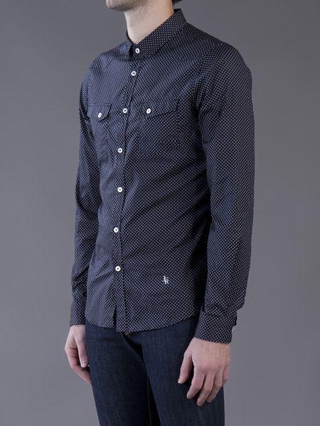 Dark Blue Polka Dot Shirt J.c Rags Polka Dot Shirt