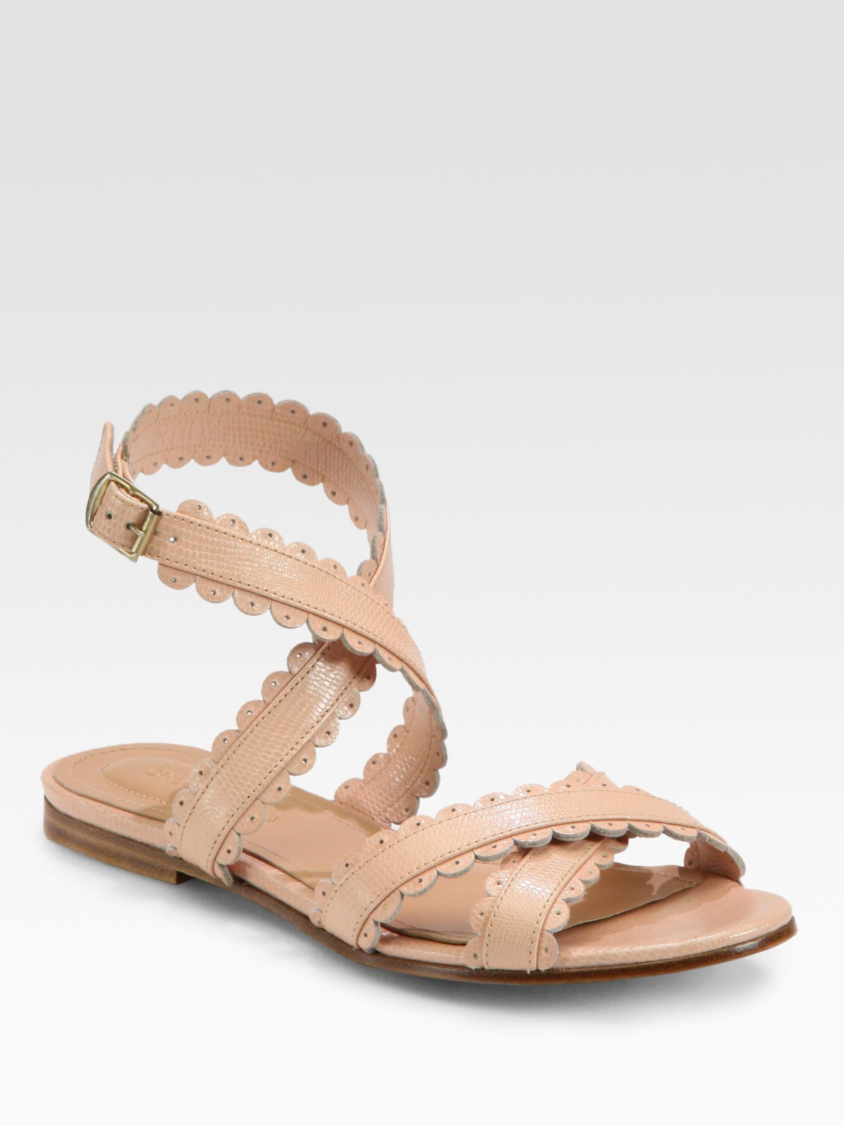 Lyst See By Chlo 233 Leather Scallop Edge Flat Sandals