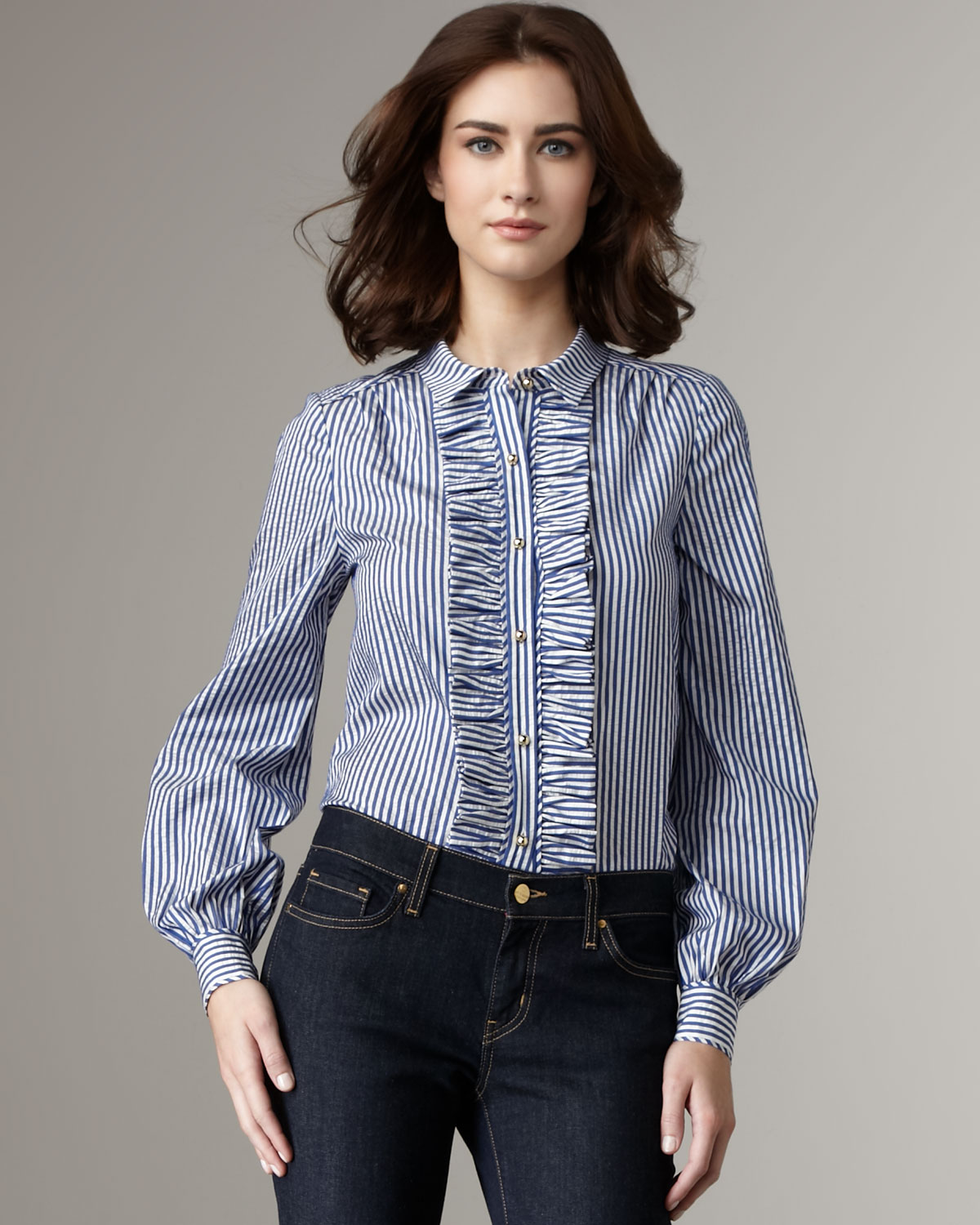 Lyst Kate Spade Tiff Ruffle Front Blouse In Blue