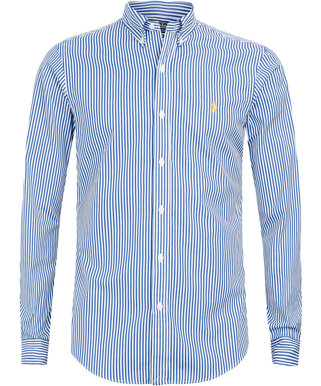 polo ralph lauren navy pinstripe slim fit shirt in blue