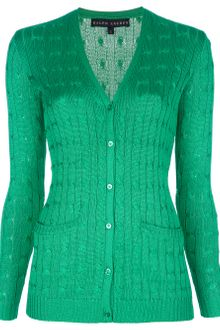 Ralph Lauren Silk Cable Knit Cardigan - Lyst