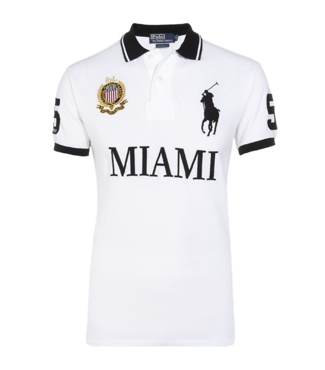 polo ralph lauren miami custom fit polo shirt in white for