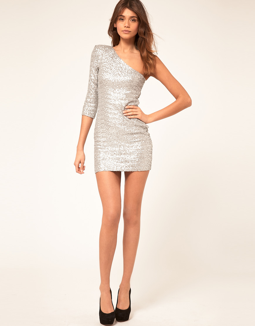 TFNC London Tfnc Sequin Dress with One Sleeve in Metallic   Lyst