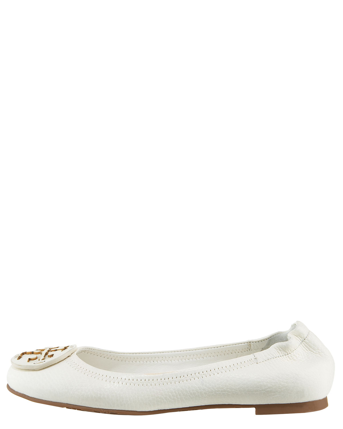 cd5ec0d8102 ... discount code for tory burch reva bleach leather ballet flat in white  lyst cc2ba e6cd9 ...