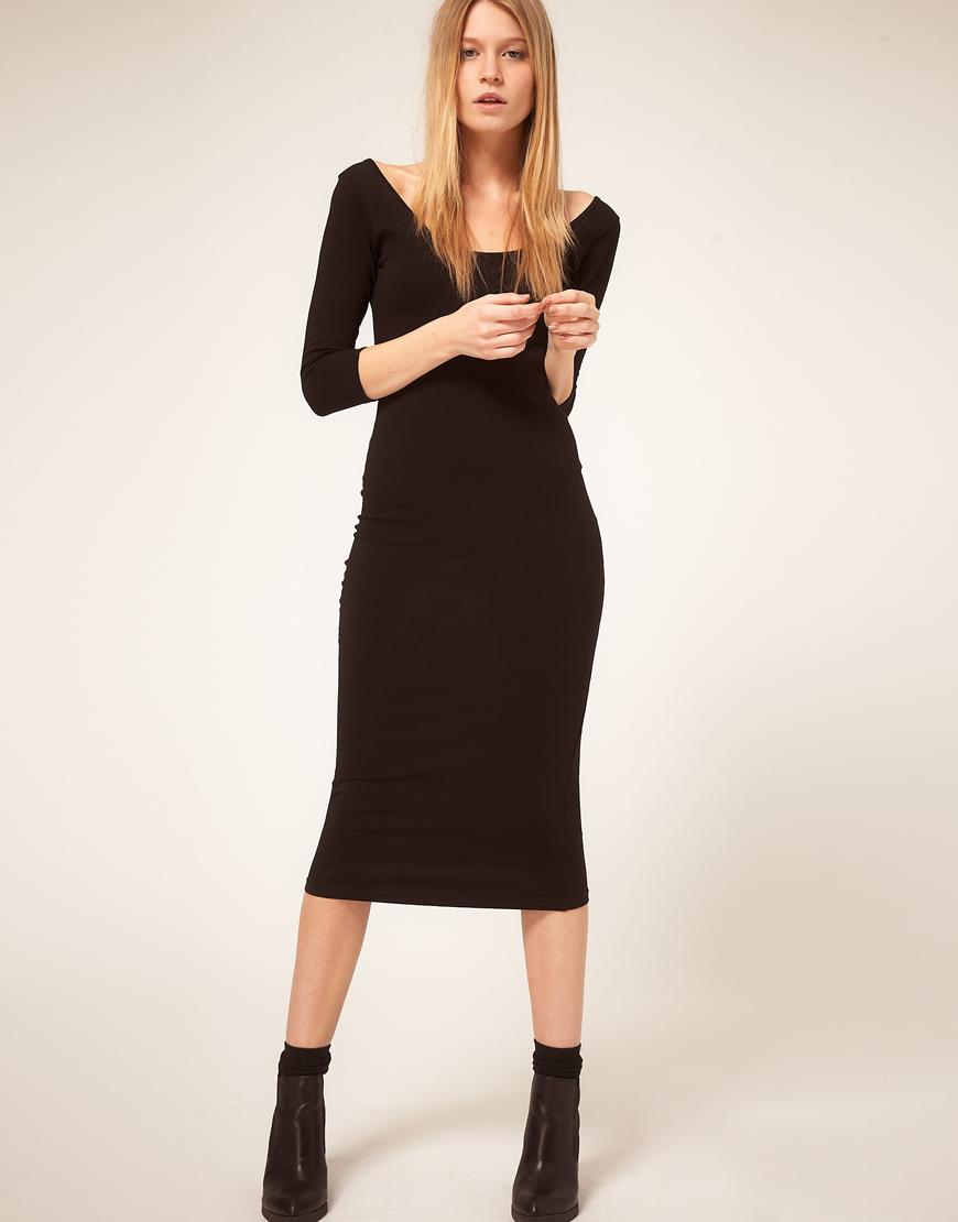 Lyst Asos Collection Asos 3 4 Sleeve Midi Bodycon Dress