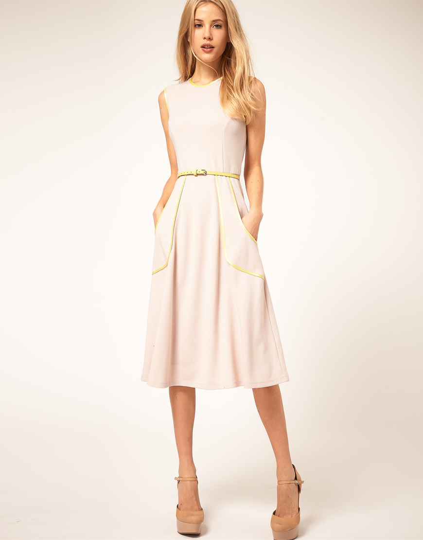 Lyst - Asos Collection Midi Dress with Belt and Pleat Detail in Natural