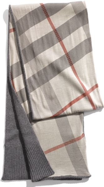 Burberry Solid & Check Cashmere Scarf in Gray for Men mid grey  Burberry Mens Scarves