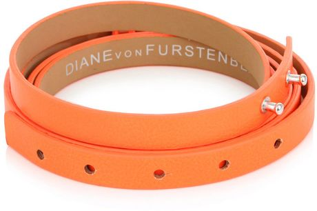 Diane Von Furstenberg Haley Doublewrap Belt in Orange - Lyst
