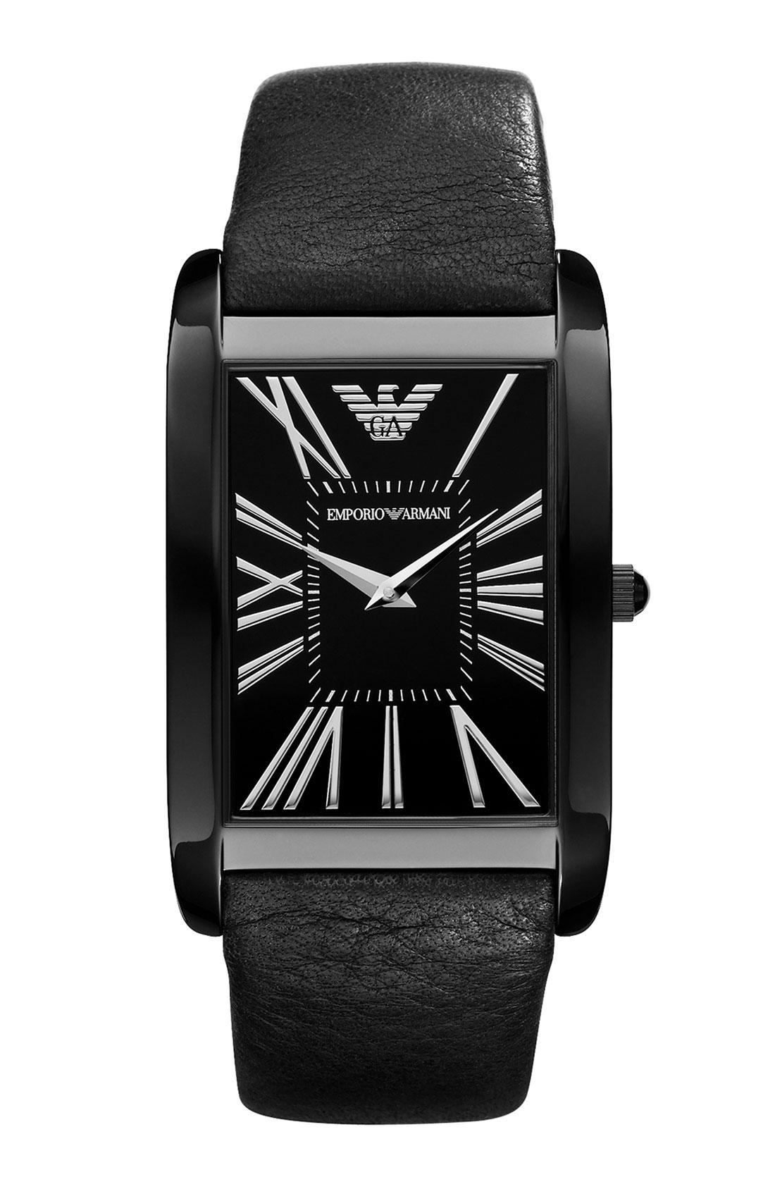 Emporio Armani Large Rectangular Watch In Black For Men