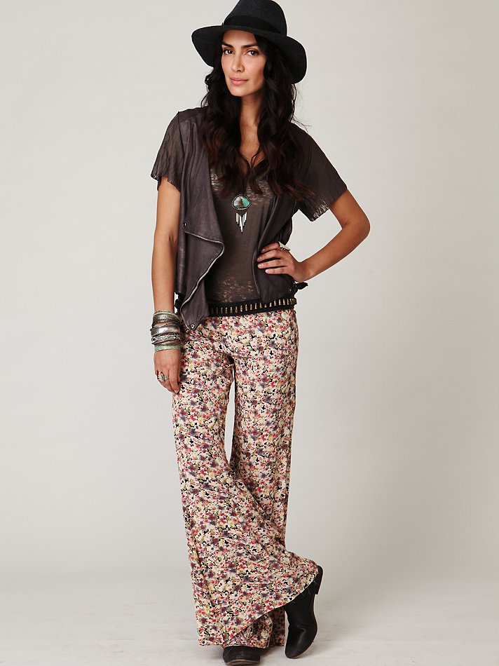 Lyst Free People Fp One Floral Fields Wideleg Pant