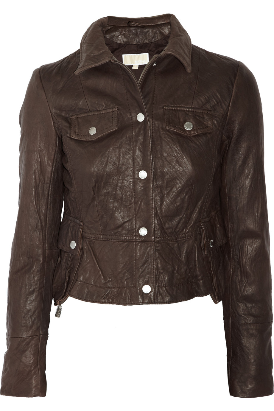 michael by michael kors cropped leather jacket in brown gray lyst. Black Bedroom Furniture Sets. Home Design Ideas