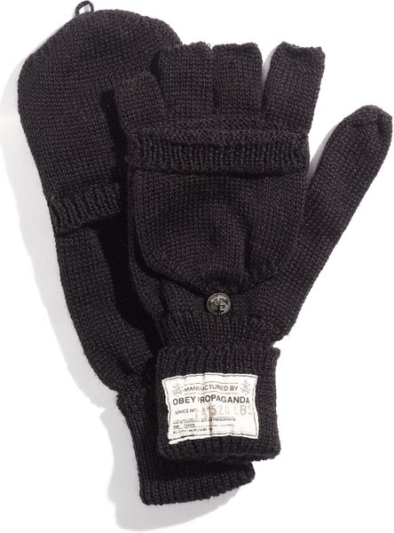 Obey Fold Back Fingerless Mittens in Black for Men