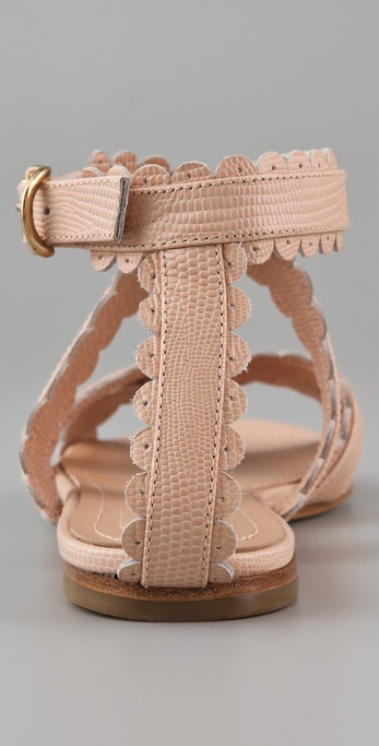9b5419a7fae Lyst - See By Chloé Scallop Ankle Wrap Flat Sandals in Pink