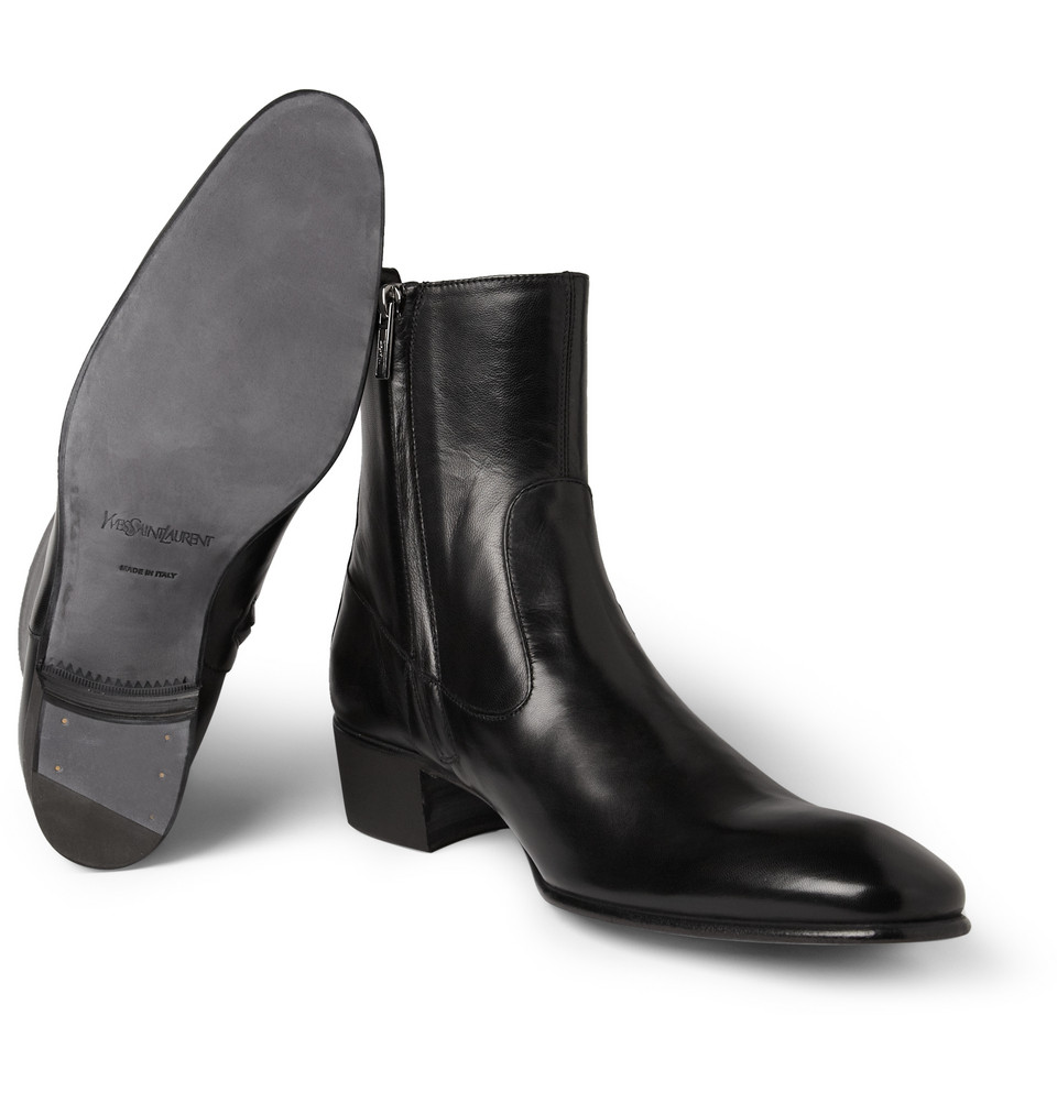 Lyst - Saint Laurent Johnny Leather Chelsea Boots in Black for Men 953a3f536b44