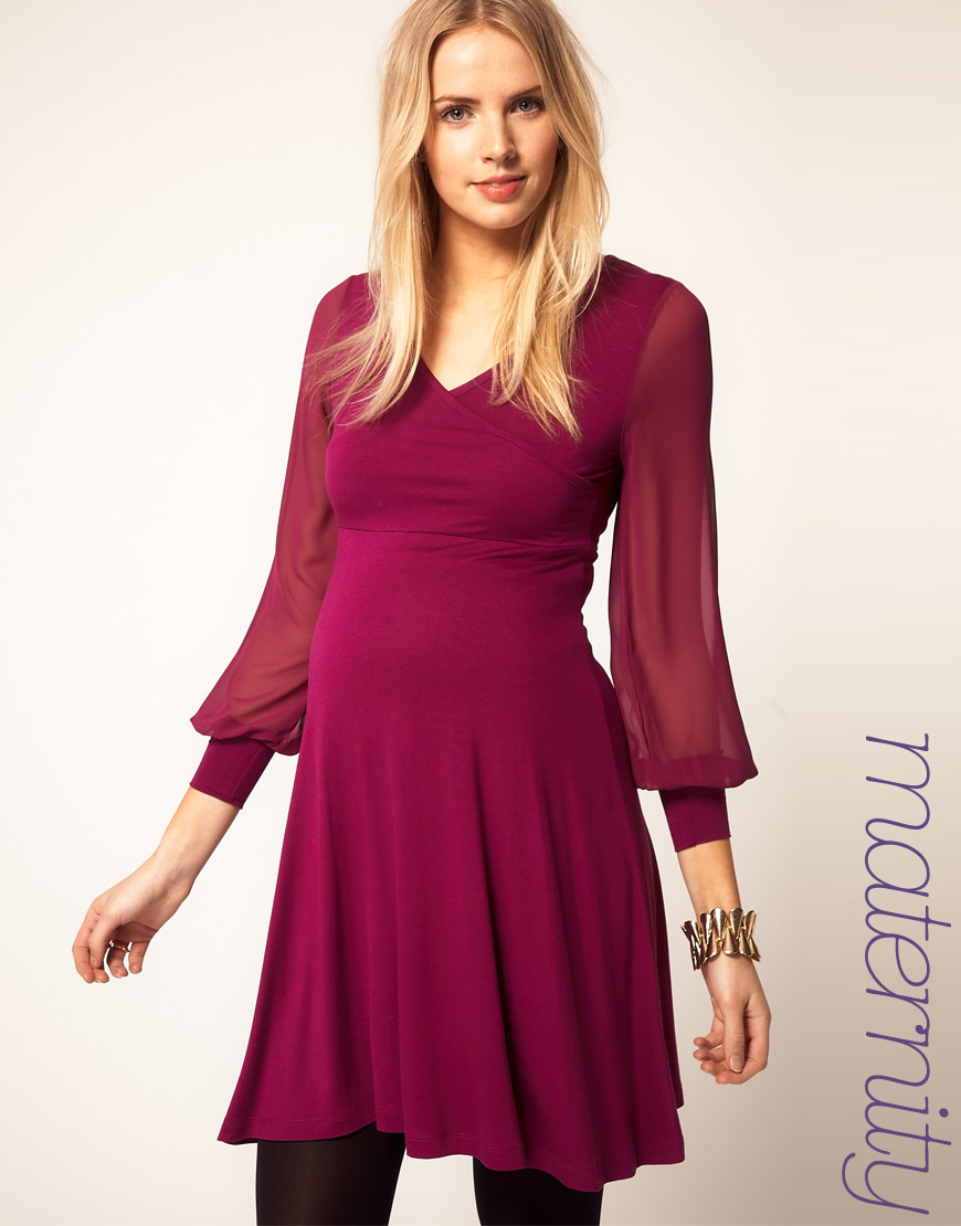 Asos maternity dress with wrap and chiffon sleeve in purple lyst gallery ombrellifo Choice Image