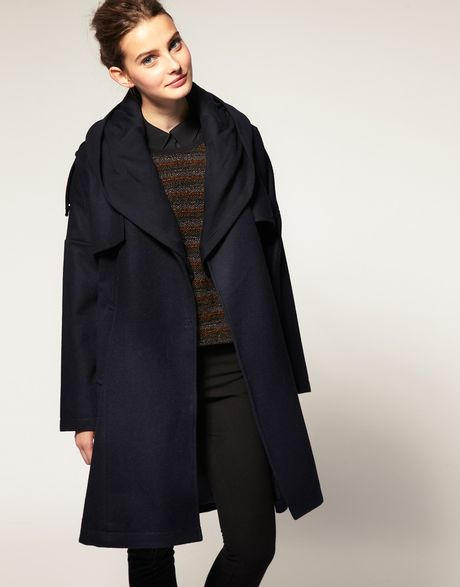 Asos Collection Asos Wool Coat with Hood in Blue (navy) - Lyst
