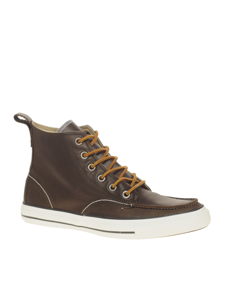 converse all leather mid boots in brown for lyst