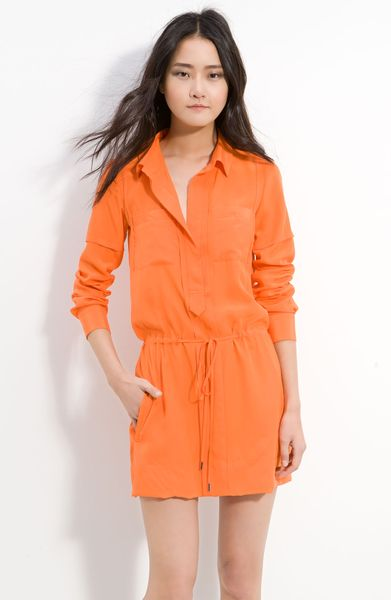 Diane Von Furstenberg Taya Silk Shirtdress in Orange (neon orange)