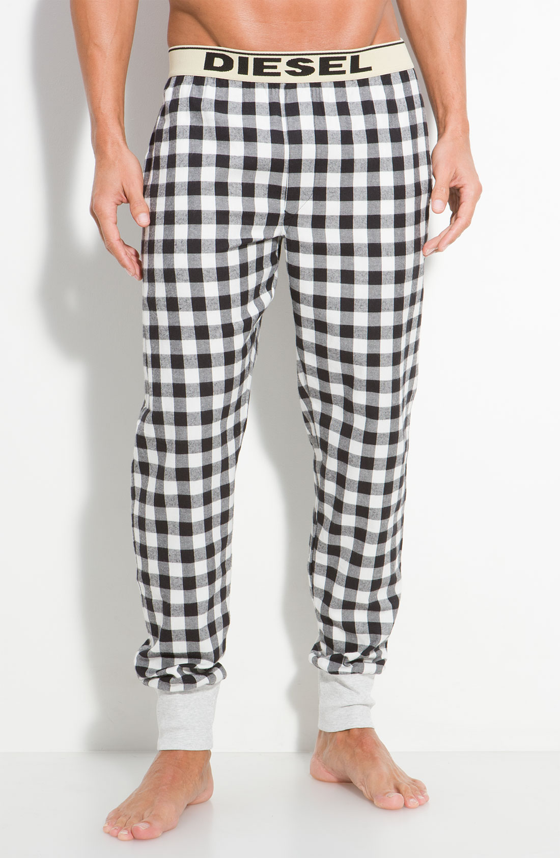 Diesel Buffalo Check Lounge Pants In Black For Men Lyst