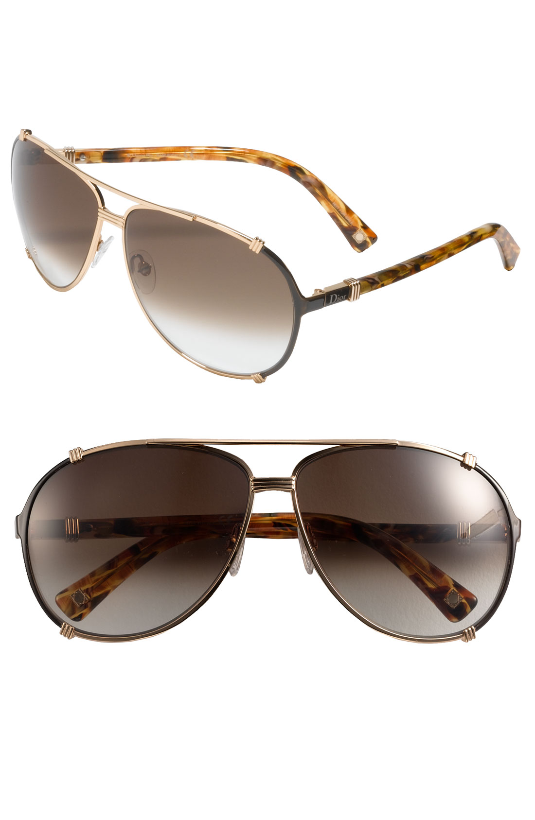 Dior Gold Frame Sunglasses : Dior Chicago 63Mm Metal Aviator Sunglasses in Brown ...