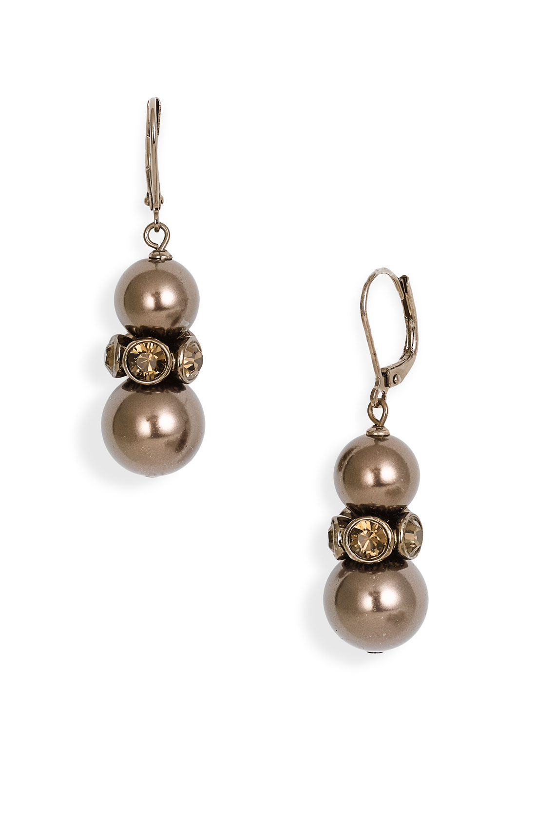 givenchy aqua drop glass pearl earrings in brown