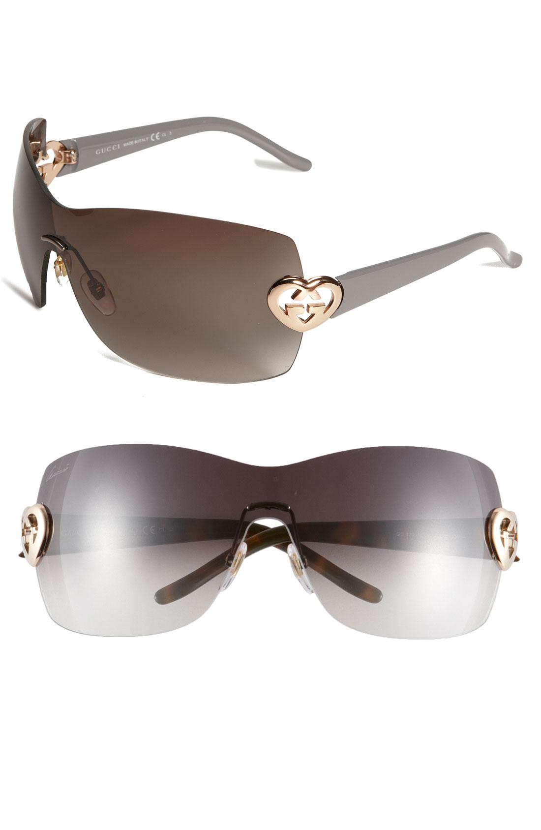 Gucci Rimless Glasses : Gucci Heart Logo Rimless Shield Sunglasses in Brown (shiny ...