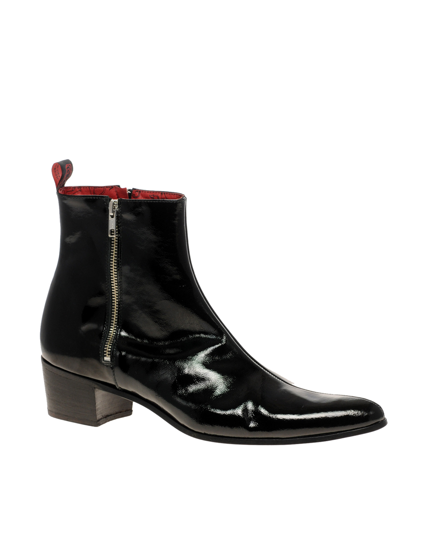 jeffery west zip cuban heel boots in black for