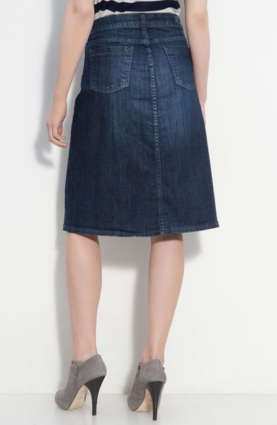 kut from the kloth 5 pocket denim skirt in blue invisible