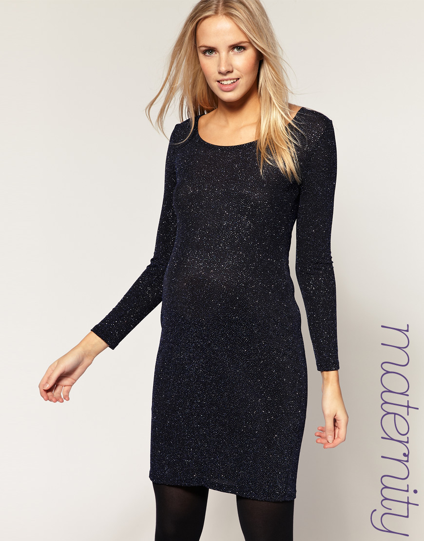 Lyst asos maternity dress in sparkle in black gallery ombrellifo Choice Image