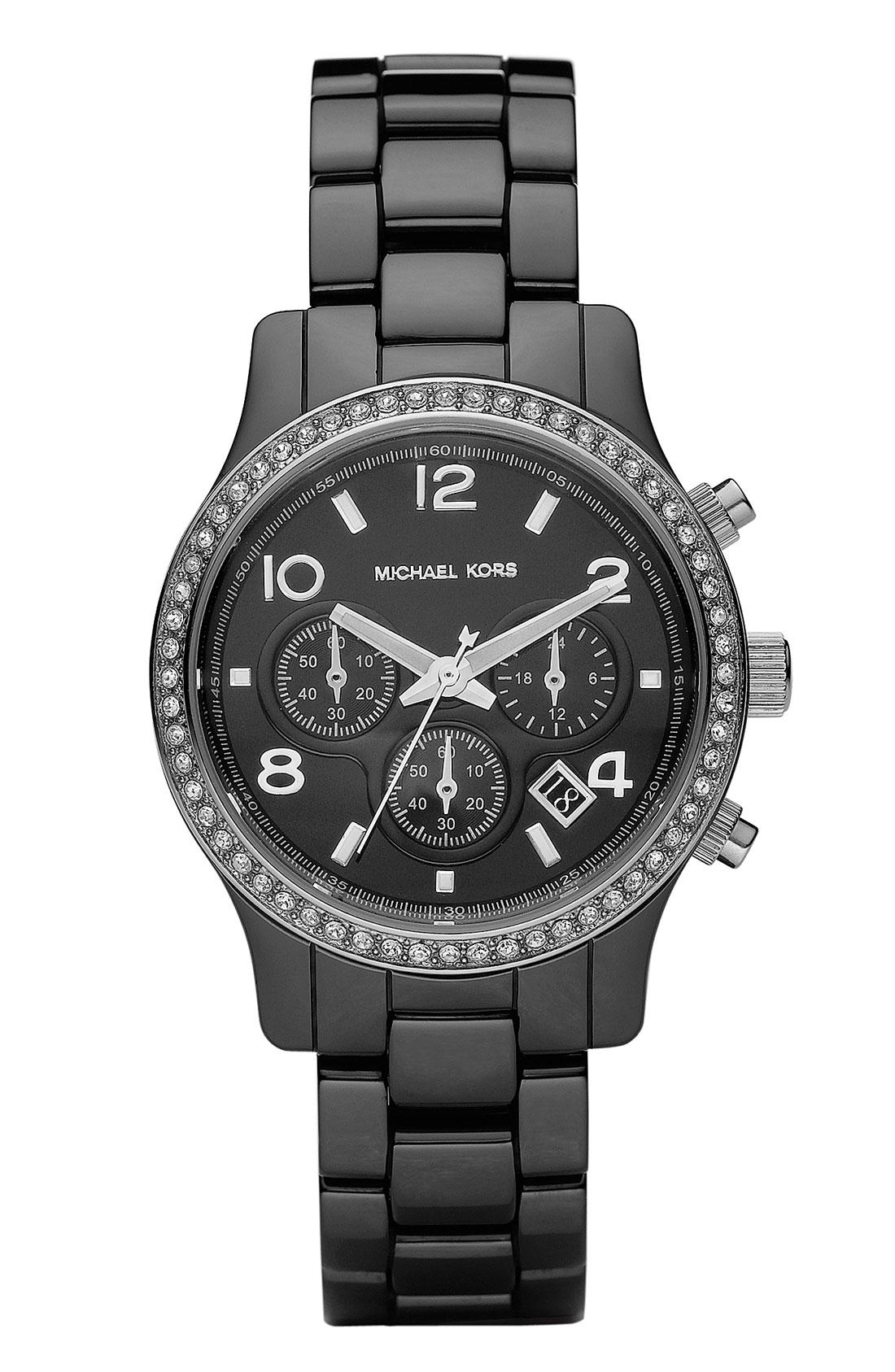 Michael Michael Kors Runway Ceramic Small Watch in Black ... Michael Kors Watches Black Ceramic