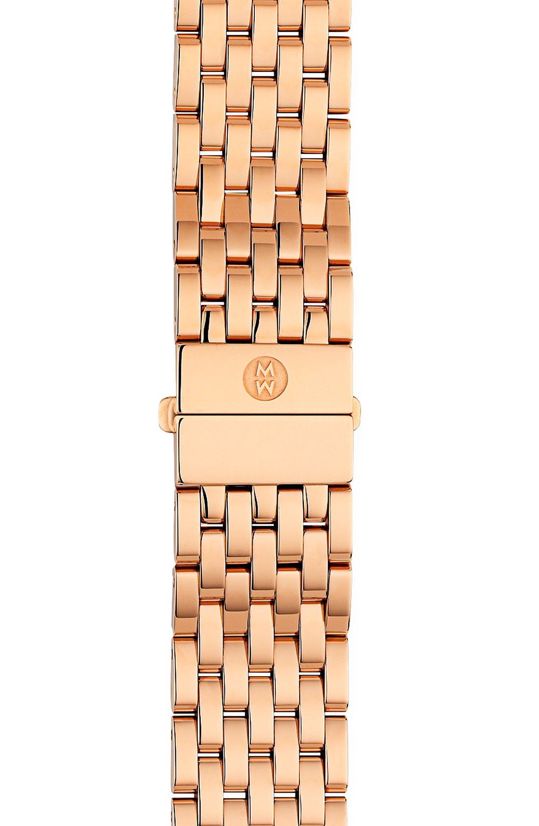 Michele deco 18mm rose gold bracelet watchband in pink for Deco maison rose gold