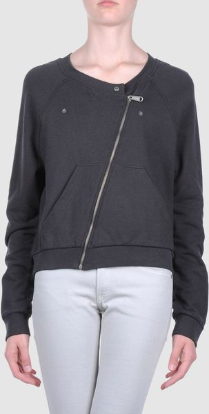 Mm6 By Maison Martin Margiela Zip Sweatshirt in Gray (steel) - Lyst
