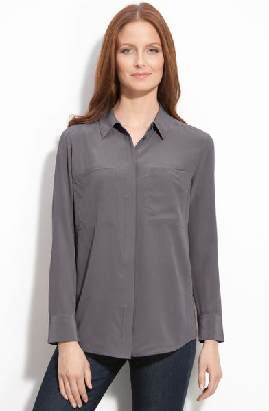 Nordstrom Collection Silk Blouse in Gray (grey silver) | Lyst
