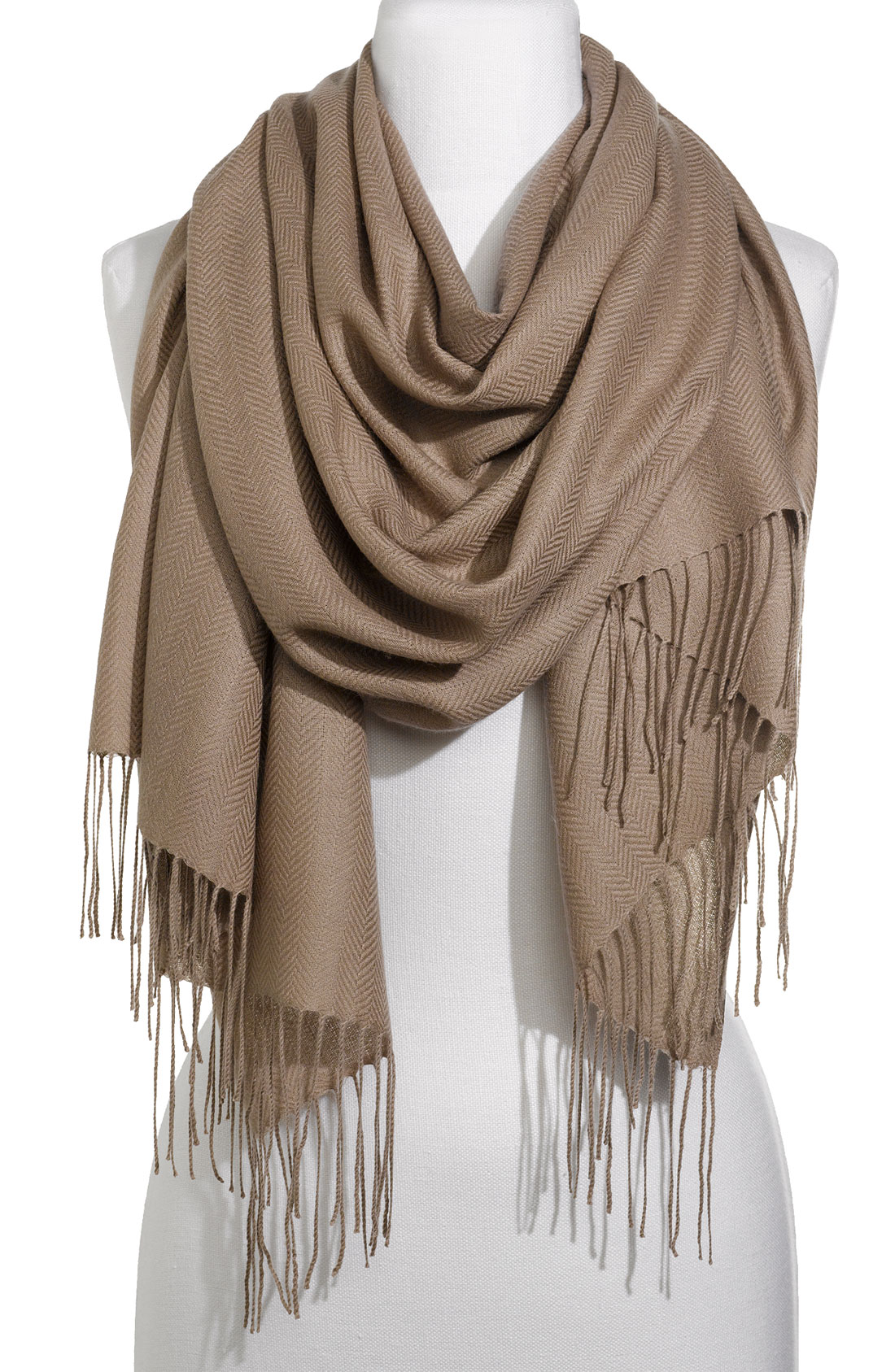 nordstrom collection herringbone scarf in brown