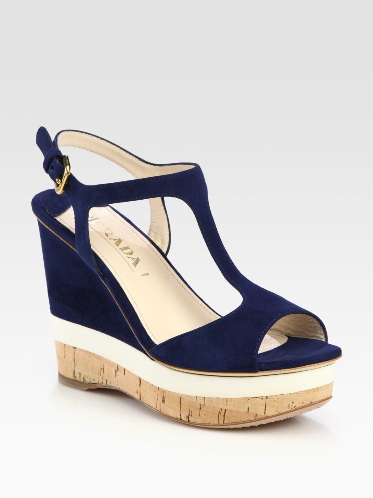 0ec561960820a Prada Suede T-Strap Wedge Sandals in Blue (navy)