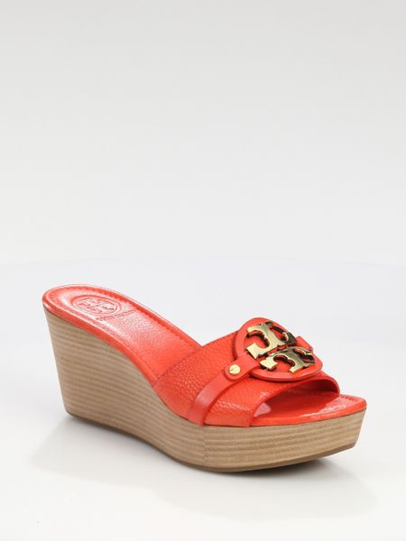 Tory Burch Patti Leather Wedge Logo Sandals In Red Lyst