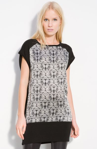 Pierre Balmain Silk Panel Cotton Tunic in Black