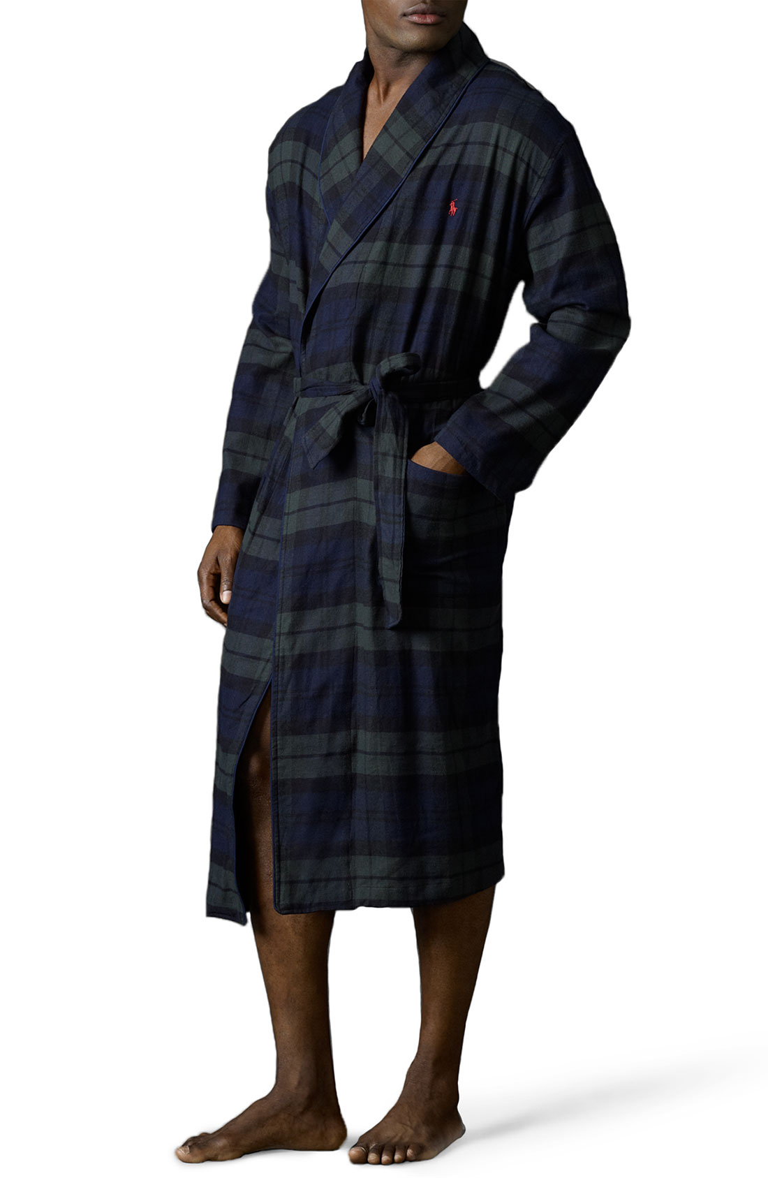 polo ralph lauren classic fit flannel robe in blue for men blackwatch tartan lyst. Black Bedroom Furniture Sets. Home Design Ideas