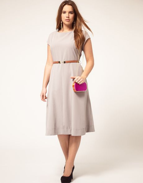 asos curve midi dress with belt in gray grey lyst