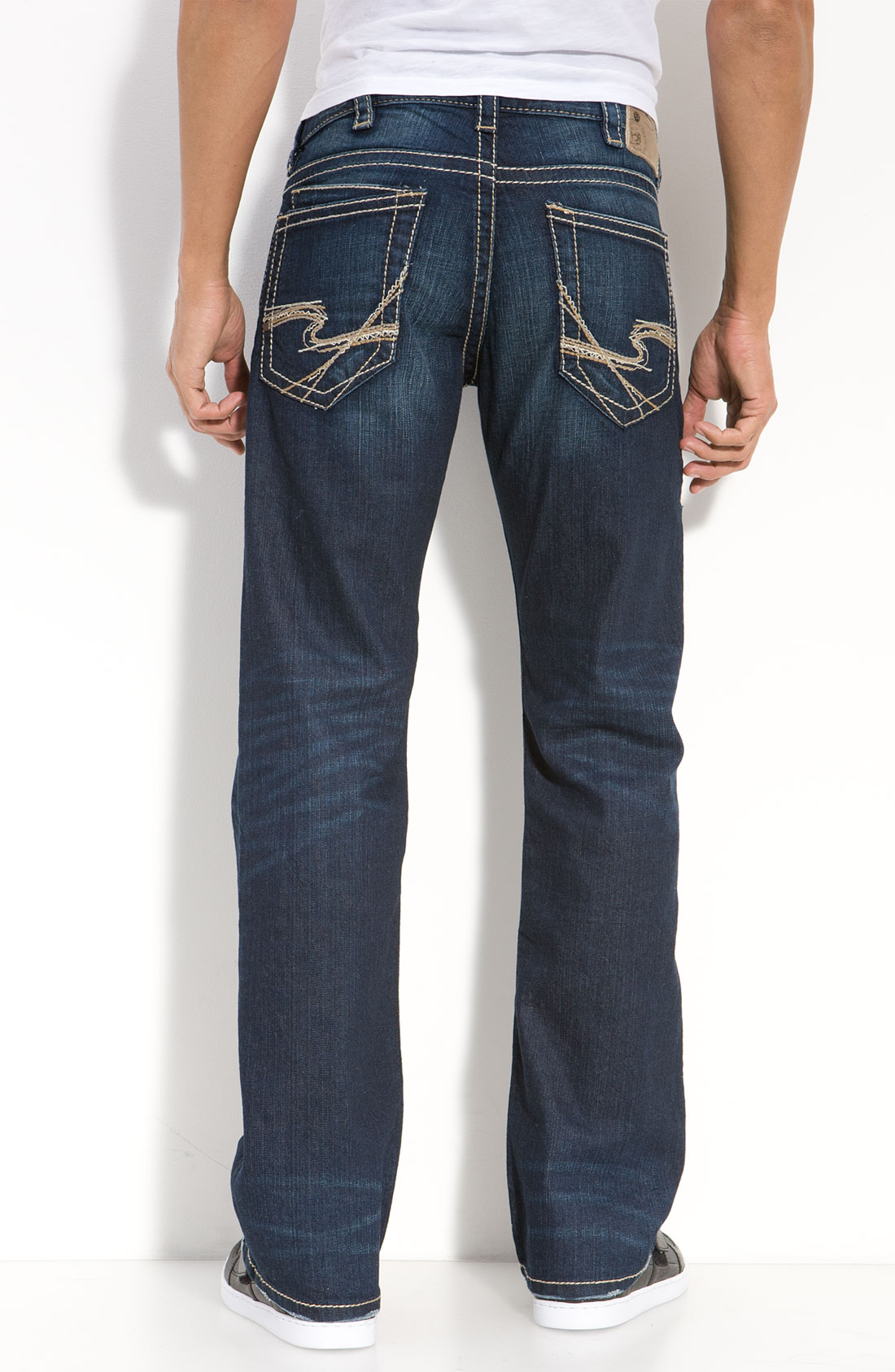 silver jeans co  zac relaxed straight leg jeans in blue for men  dark wash