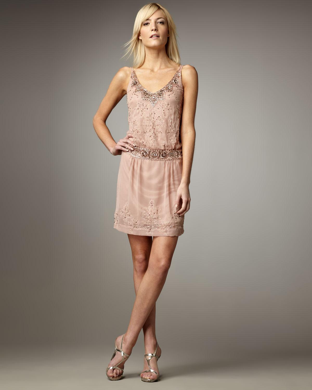 Sue Wong Beaded Drop-waist Dress In Lime (Pink)