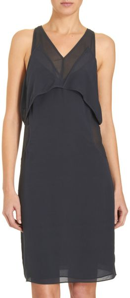T By Alexander Wang Layered Bust Dress in Gray (steel)