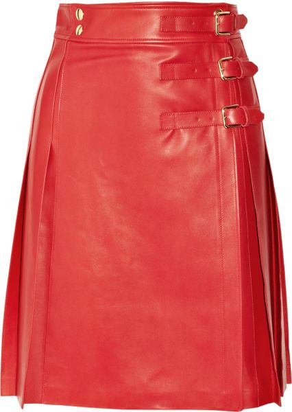 Saint Laurent Pleated Leather Wrap Skirt In Red Poppy Lyst